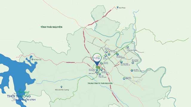 Vị trí dự án Tecco Elite city Thái Nguyên